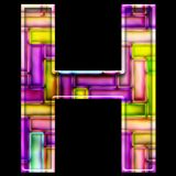 3D render of neon bricks alphabet letter H. 3D render of neon bricks pattern alphabet capital letter Stock Photography