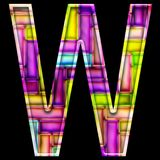 3D render of neon bricks alphabet letter W. 3D render of neon bricks pattern alphabet capital letter Stock Photos