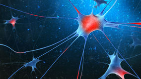 3d render of nerve cells. 3d render of nerve cells on blue background Royalty Free Stock Photos