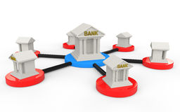 3d render of network of bank buildings Royalty Free Stock Photo