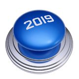 2019 New Year blue button isolated. 3d render of 2019 New Year blue push button isolated on white background stock illustration