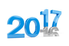 3d render - new year 2017 change concept - blue. 3d render - new year 2017 change concept on a white background Royalty Free Illustration