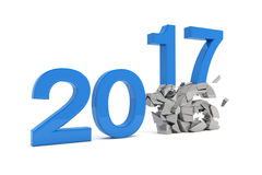 3d render - new year 2017 change concept - blue. 3d render - new year 2017 change concept on a white background Royalty Free Stock Photo