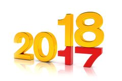 3d render - new year 2018 change concept - gold. 3d render - new year 2018 change concept on a white reflecting background Royalty Free Stock Photo