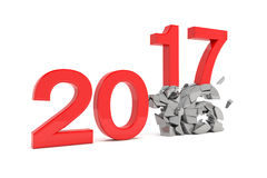 3d render - new year 2017 change concept - red Stock Photo