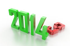 3d render of new year 2014 Royalty Free Stock Photo
