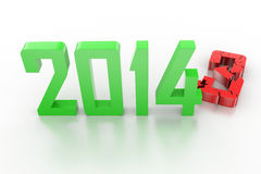 3d render of new year 2014. 2013 change to 2014 Stock Photo