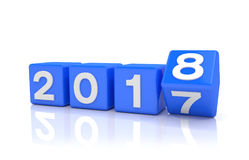 3d render - new year 2018 concept - cubes - blue Royalty Free Stock Images