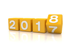 3d render - new year 2018 concept - cubes - orange Royalty Free Stock Image