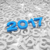 3d render - new year 2017 and past years - blue. 3d render - new year 2017 in blue and past years on a white background Royalty Free Stock Images
