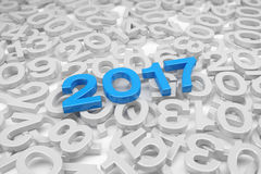 3d render - new year 2017 and past years - blue. 3d render - new year 2017 in blue and past years on a white background Stock Images