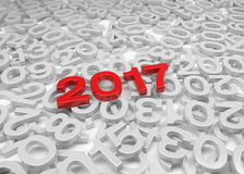 3d render - New Year 2017 and past years - Red. 3d render - New Year 2017 in red and past years on a white background Royalty Free Stock Images