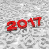 3d render - new year 2017 and past years - red. 3d render - new year 2017 in red and past years on a white background Royalty Free Stock Image