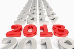 3d render - new year 2018 timeline concept - red. 3d render - number 2018 in red over white background - represents the new year Royalty Free Stock Photography