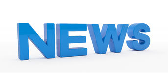 3d render - news - blue. 3d render - news text in blue on floor with shadow over white background Stock Photos