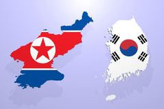 A 3d render of north and south korea map stock illustration