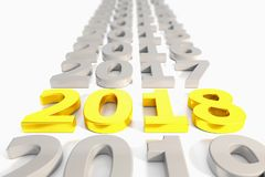 3d render - new year 2018 timeline concept - gold. 3d render - number 2018 in gold over white background - represents the new year Stock Photos