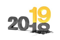 3d render of the numbers 2018 and 19 in black and gold over whit. E background. The number 19 falls on the number 18 and breaks in it in the ground royalty free illustration