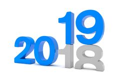 3d render of the numbers 2018 and 19 in blue over white backgrou. Nd. The number 19 falls on the number 18 and breaks in it in the ground vector illustration