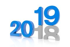 3d render of the numbers 2018 and 19 in blue over white backgrou. Nd. The number 19 falls on the number 18 and breaks in it in the ground stock illustration