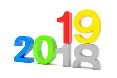 3d render of the numbers 2018 and 19 colorful over white backgro. Und. The number 19 falls on the number 18 and breaks in it in the ground stock illustration