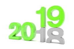 3d render of the numbers 2018 and 19 in green over white backgro. Und. The number 19 falls on the number 18 and breaks in it in the ground royalty free illustration