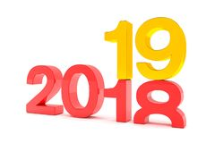3d render of the numbers 2018 and 19 in red and gold over white. Background. The number 19 falls on the number 18 and breaks in it in the ground royalty free illustration