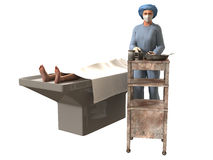 3d render of nurse and dead body in morgue. On white background Stock Photography
