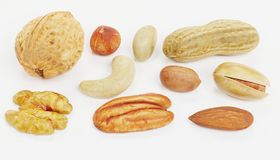3D Render of Nuts Collection Stock Photo