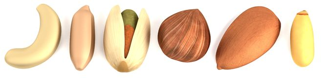 3d render of nuts Stock Photos