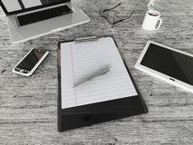 3D render of an Office desk with coffee and  eyeglasseswith cellphone, tablet and laptop computer Royalty Free Stock Photography