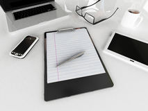 3D render of an Office desk with coffee and  eyeglasseswith cellphone, tablet and laptop computer. Office desk with coffee and  eyeglasseswith cellphone, tablet Royalty Free Stock Photo