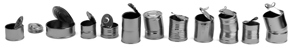 3d render of old cans Royalty Free Stock Photos