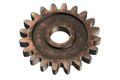 3D render of old Rusty Gear isolated on white. Background royalty free illustration