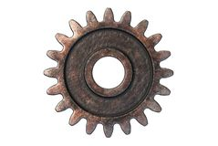 3D render of old Rusty Gear isolated on white. Background stock illustration