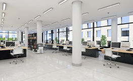 3d render - open plan office - office building Stock Images