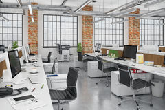 3d render - open plan office - office building Royalty Free Stock Photography