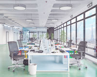3d render - open plan office - office building Stock Image