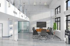 3d render - open plan office - office building Stock Photo
