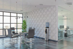 3d render - open plan office - office building Royalty Free Stock Photos