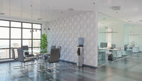 3d render - open plan office - office building Royalty Free Stock Photo