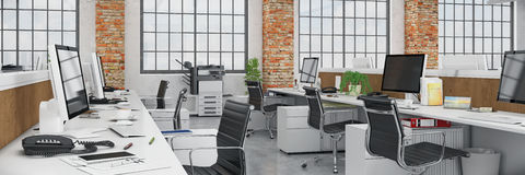 3d render - open plan office - office building - panorama Stock Images