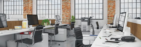 3d render - open plan office - office building - panorama Stock Photography