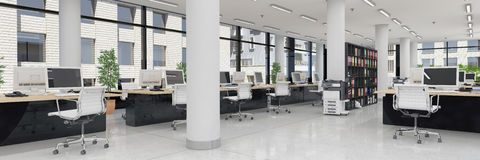 3d render - open plan office - office building - panorama Stock Image