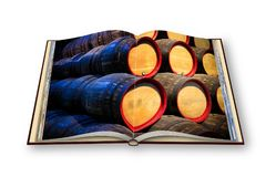 3D render of an opened photo book with wooden beer barrels stack. Ing one on the other Stock Image