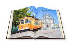 3D render of an opened photobook with typical transport vehicle. Of Oporto city Oporto - Portugal Stock Photos