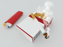 3D render of a pack of cigarettes with red lighter. On white background Royalty Free Stock Image