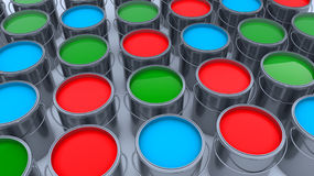 3d render. Paint cans. And colors Stock Photography