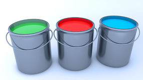 3d render. Paint cans. And colors Stock Images