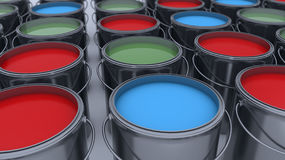 3d render. Paint cans. And colors Stock Photos